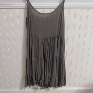 AEO Gray Babydoll Tiered Dress With Cut Out Back